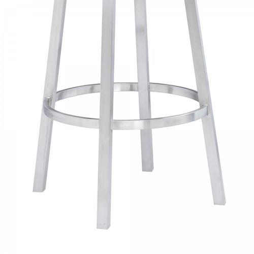 """Armen Living - Madrid Contemporary 26"""" Counter Height Barstool in Brushed Stainless Steel Finish and White Faux Leather"""