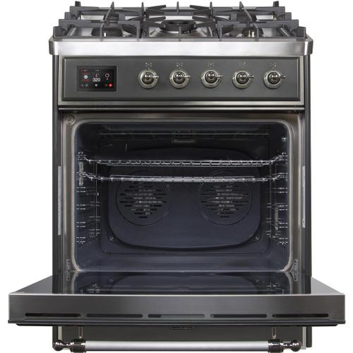 Majestic II 30 Inch Dual Fuel Natural Gas Freestanding Range in Matte Graphite with Chrome Trim