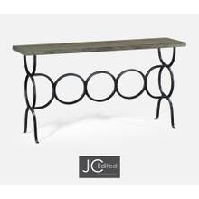 Antique Dark Grey Console with Circular Wrought Iron Base