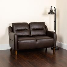 See Details - Newton Hill Upholstered Bustle Back Loveseat in Brown LeatherSoft