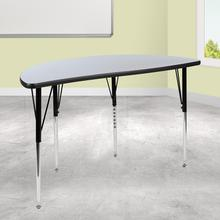 "47.5"" Half Circle Wave Collaborative Grey Thermal Laminate Activity Table - Standard Height Adjustable Legs"