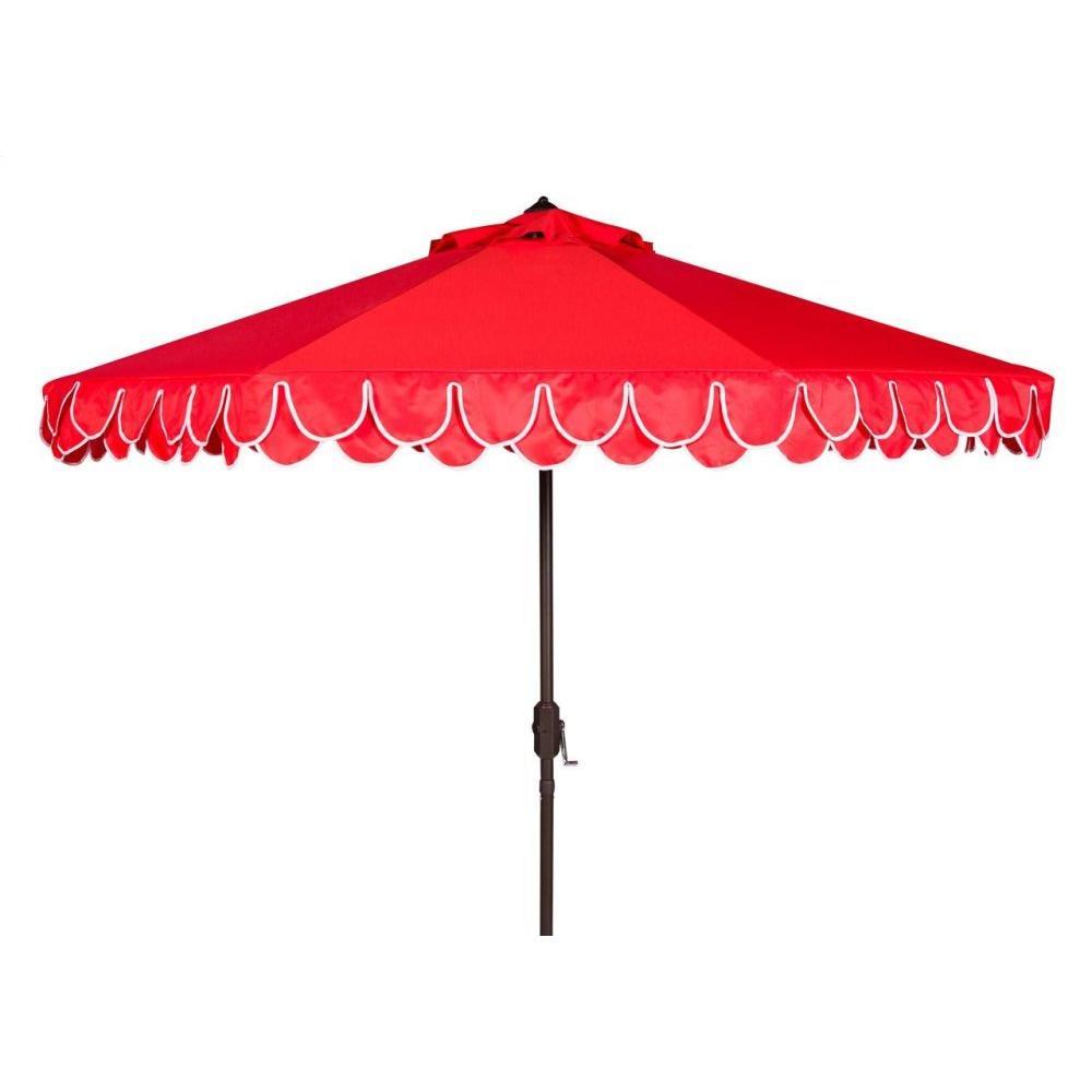Elegant Valance 9ft Auto Tilt Umbrella - Red / White