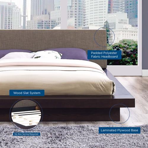 Freja Queen Fabric Platform Bed in Cappuccino Brown