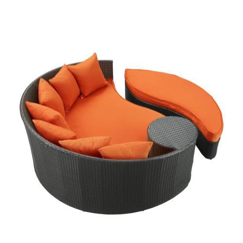 Taiji Outdoor Patio Wicker Daybed in Espresso Orange