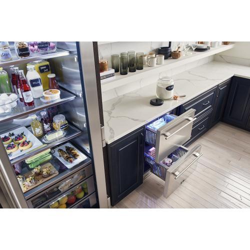True Residential - 24 Inch Overlay Panel Door Undercounter Freezer Drawer