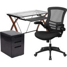 3 Piece Office Set - Glass Desk with Keyboard Tray, Ergonomic Mesh Office Chair and Filing Cabinet with Lock & Inset Handles