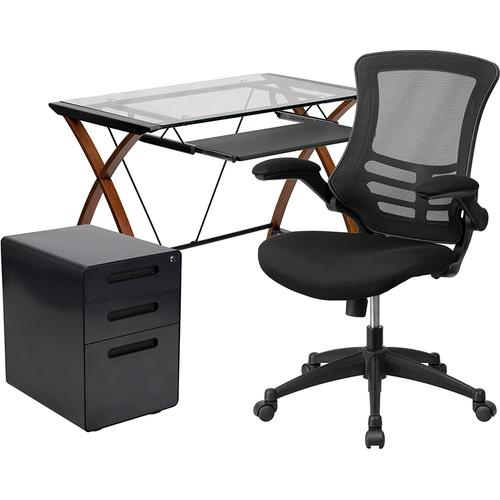 Gallery - Work From Home Kit - Glass Desk with Keyboard Tray, Ergonomic Mesh Office Chair and Filing Cabinet with Lock & Inset Handles
