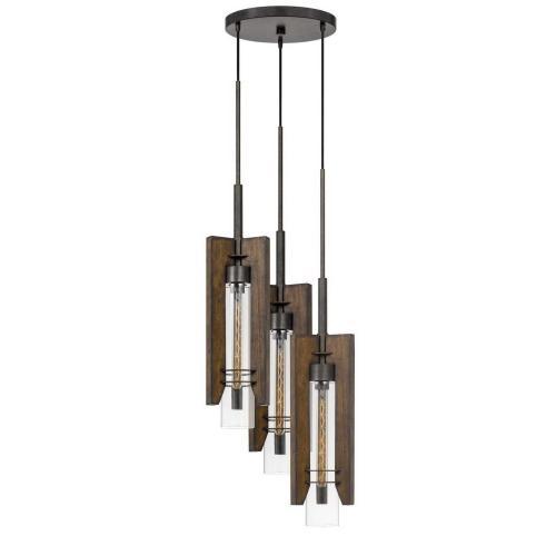 60W X 3 Almeria Wood/Glass 3 Light Pendant Fixture (Edison Bulbs Not included)