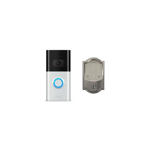 Video Doorbell 3 & Schlage Encode Smart WiFi Deadbolt - Satin Nickel