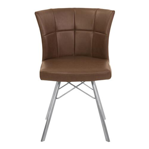 Armen Living Spago Contemporary Dining Chair in Vintage Coffee Faux Leather with Brushed Stainless Steel Finish - Set of 2