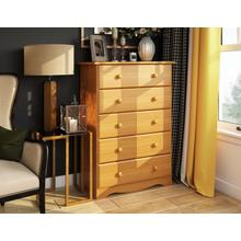 See Details - 53104 - 100% Solid Wood Five Drawer Chest - Honey Pine