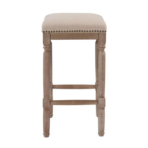 New Pacific Direct - Ernie KD Fabric Counter Stool Drift wood Legs, French Cream