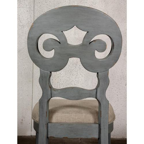 Mix-n-match Chairs - Scroll Back Upholstered Side Chair - Chipped Gray Finish