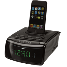 Clock radio with built-in iPod dock