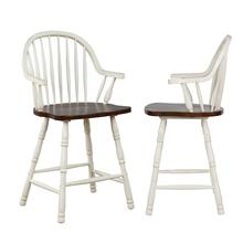 "DLU-ADW-B3024A-AW-2  Andrews 24"" Counter Height Windsor Arm Stool  Antique White and Chestnut Brown Set of 2"