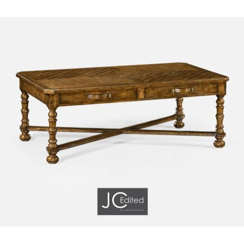 Country Walnut Parquet Coffee Table with Strap Handles