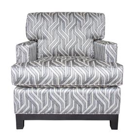 Upholstered Chair, Non Skirted. Avaliable with 5'' Plinth Base Available in Grey Wash, Cottage White, Royal Oak, Black Teak, White Teak, or Vintage smoke Finish.