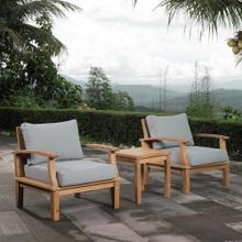 Marina 3 Piece Outdoor Patio Teak Set in Natural Gray