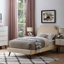View Product - Corene Twin Fabric Platform Bed with Round Splayed Legs in Beige