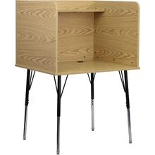 See Details - Study Carrel with Adjustable Legs and Top Shelf in Oak Finish