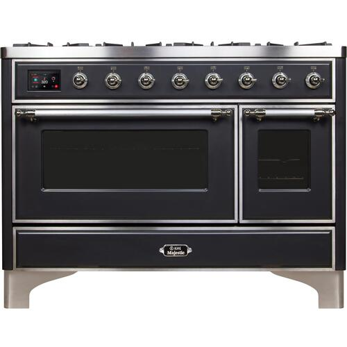 Majestic II 48 Inch Dual Fuel Natural Gas Freestanding Range in Matte Graphite with Chrome Trim