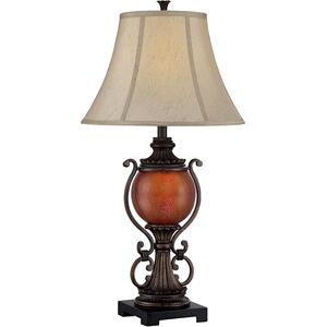 Table Lamp W/night Lite- D.BRZ/FABRIC Shd, E27 Cfl 23w& C 7w