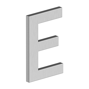 """Deltana - 4"""" LETTER E, B SERIES WITH RISERS, STAINLESS STEEL - Brushed Stainless"""