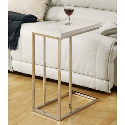 Gallery - ACCENT TABLE - GLOSSY WHITE WITH CHROME METAL
