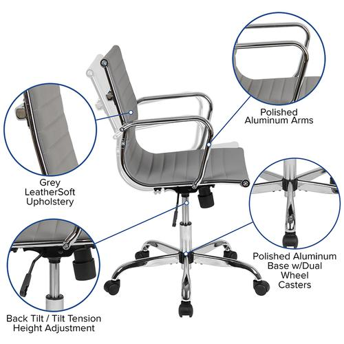Mid-Back Light Gray LeatherSoft Mid-Century Modern Ribbed Swivel Office Chair with Spring-Tilt Control and Arms