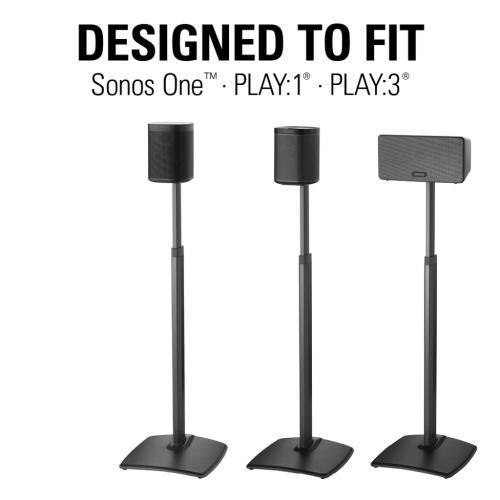 Black Adjustable Height Wireless Speaker Stands designed for SONOS ONE, Sonos One SL, Play:1, and Play:3