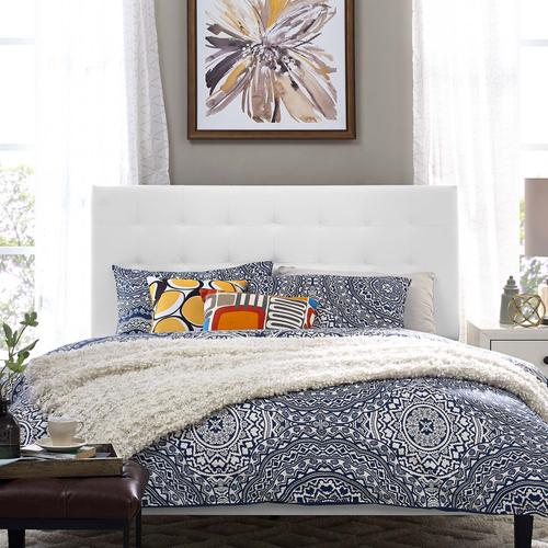 Modway - Paisley Tufted Full / Queen Upholstered Faux Leather Headboard in White