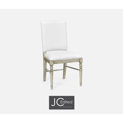 Rustic Grey Side Chair, Upholstered in COM