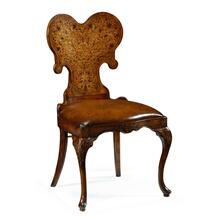 Seaweed marquetry side chair with antique brown leather seat