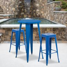 """See Details - Commercial Grade 24"""" Round Blue Metal Indoor-Outdoor Bar Table Set with 2 Square Seat Backless Stools"""