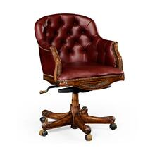 Buttoned red leather desk chair (Low back)