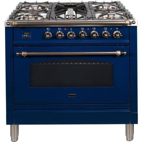 Nostalgie 36 Inch Dual Fuel Liquid Propane Freestanding Range in Blue with Bronze Trim