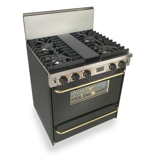"""Five Star - 30"""" All Gas, Convect, Sealed Burners, Black with Brass"""