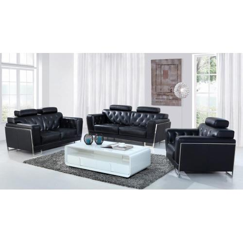 Divani Casa Huron Modern Black Leather Sofa Set