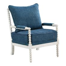 Kaylee Spindle Chair In Navy Fabric With White Frame