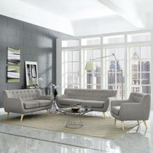 Remark 3 Piece Living Room Set in Light Gray
