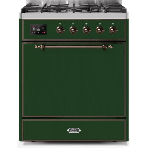 Ilve - Majestic II 30 Inch Dual Fuel Natural Gas Freestanding Range in Emerald Green with Bronze Trim
