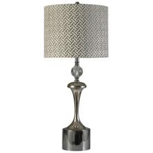 View Product - Black Nickel and Chrome  Transitional Steel Table Lamp  150W  3-Way  Hardback Designer Shade