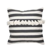 20x20 Hand Woven Stripe Pillow Black