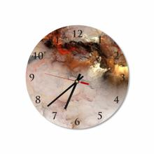 Gold Abstract Clouds Round Acrylic Wall Clock