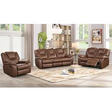8083 BROWN 3PC Manual Recliner Air Leather Living Room SET