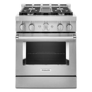 KitchenaidKitchenAid® 30'' Smart Commercial-Style Gas Range with 4 Burners - Heritage Stainless Steel