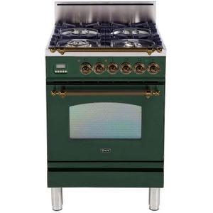 Nostalgie 24 Inch Gas Liquid Propane Freestanding Range in Emerald Green with Bronze Trim