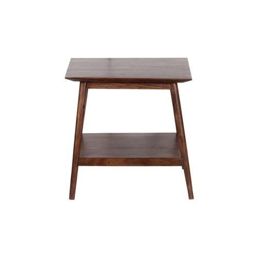 Portola Walnut End Table with Shelf, 2005-003WW