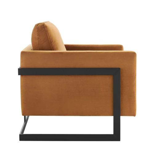 Posse Performance Velvet Accent Chair in Black Cognac