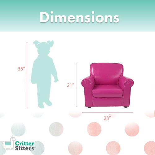 Hanover Outdoor Furniture - Critter Sitters 21-In. Pink Faux Leather Children's Mini Chair - Furniture for Nursery, Bedroom, Playroom, and Living Room Decor, CSFXLTHCHR-PNK